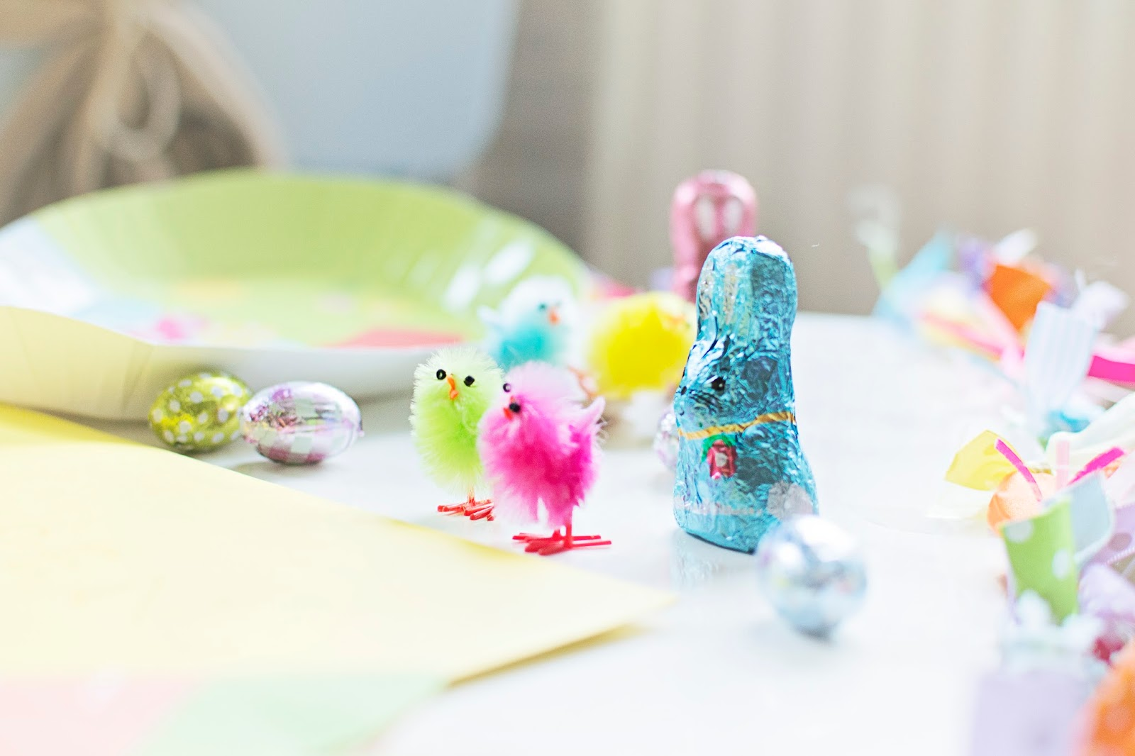Easter Morning 2014… Bunny Prints, Chocolate and Skittles…
