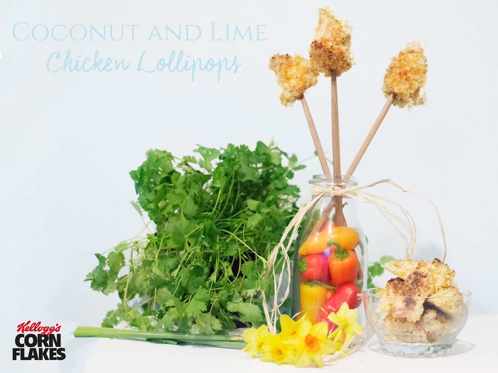 KELLOGG'S COCONUT & LIME CHICKEN CORN FLAKE LOLLIPOPS AND SNAP, CRACKLE CHILI PRAWNCAKES