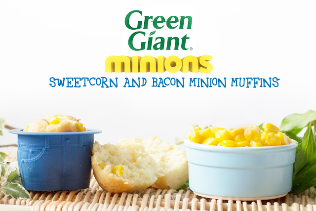 SWEETCORN AND BACON MINION MUFFINS