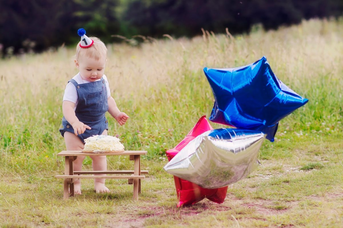 Baby Hero in Elfie Dungarees and Little Blue Olive Hat with Balloons for Fourth July