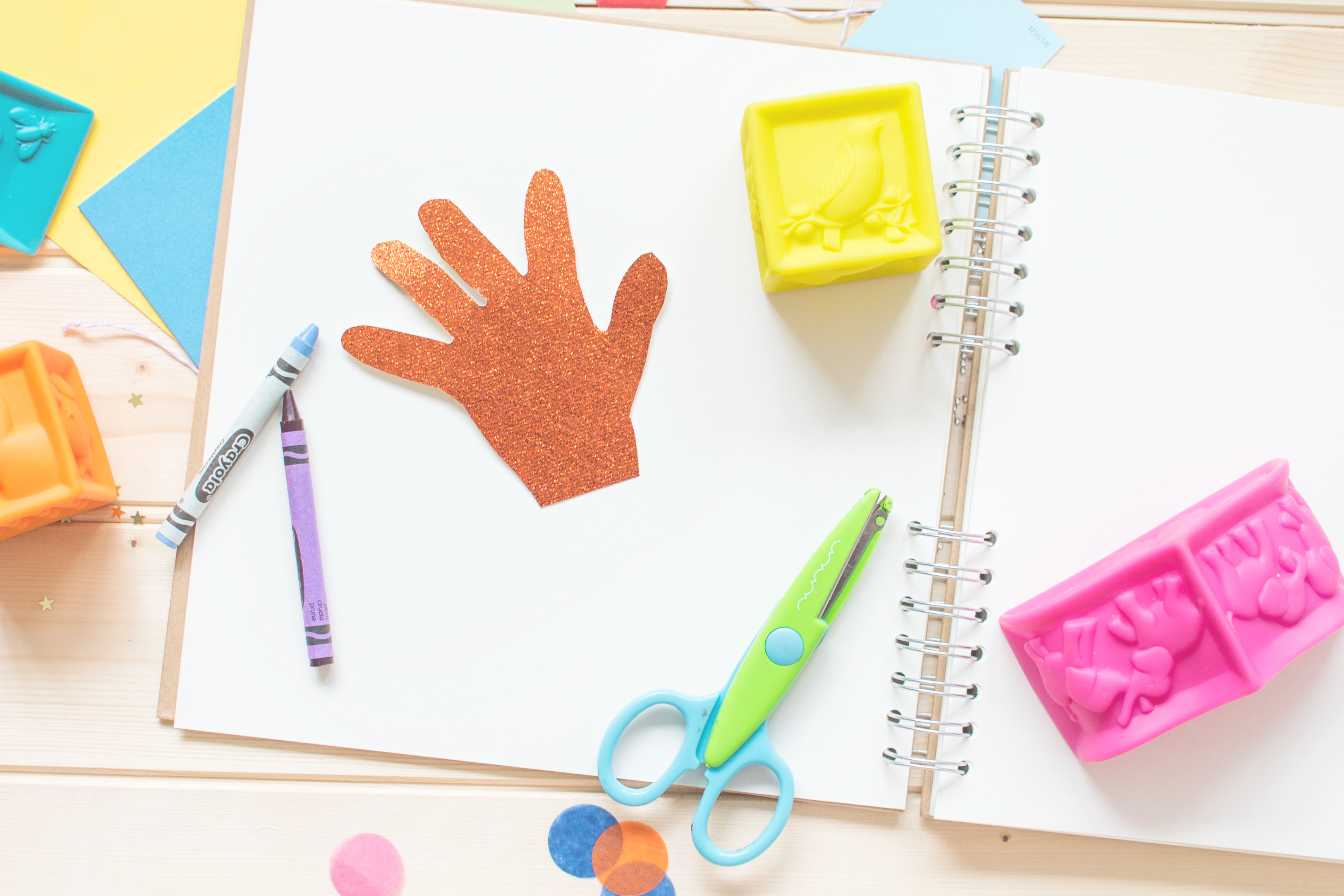 child handprints schoolyear scrapbook