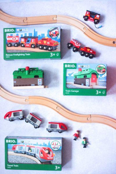 brio travel train firefighting truck train garage