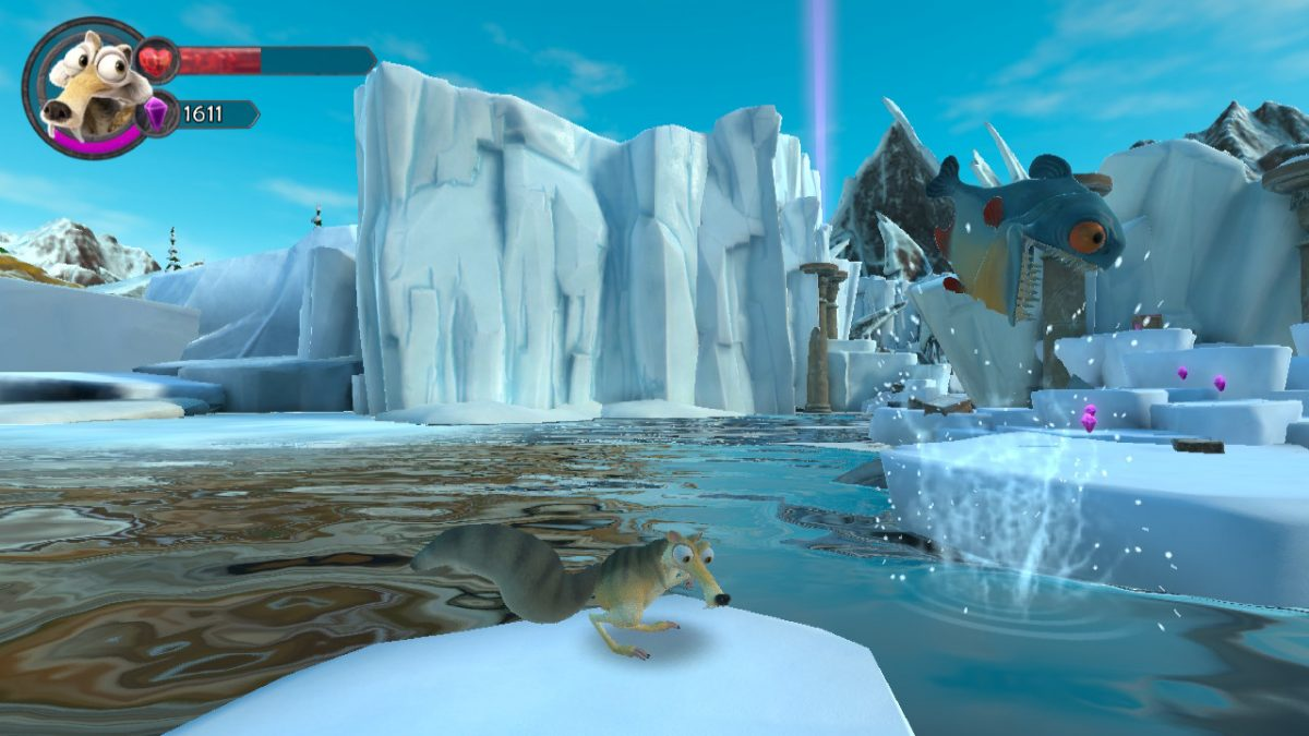 SCREENSHOT OF PLAY IN ICE AGE SCRAT'S NUTTY ADVENTURE: SCRAT LOOKS BEMUSED AS A HUGE PIRANHA LEAPS INTO ACTION