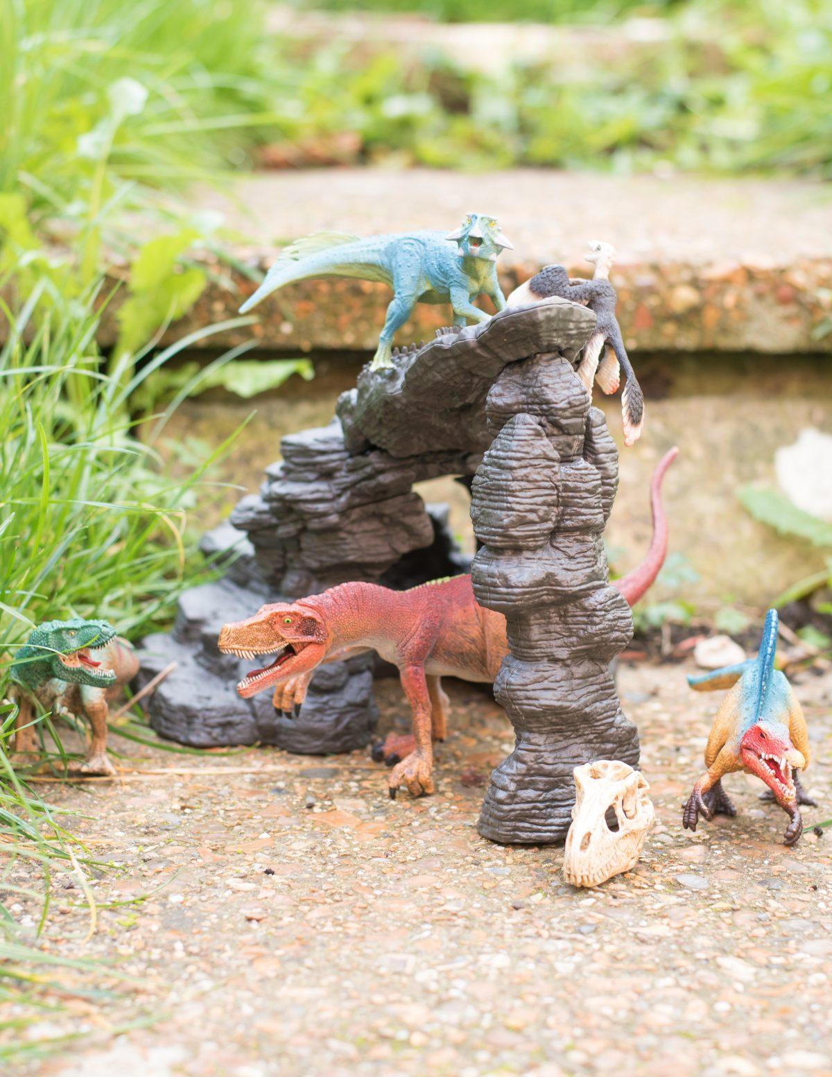 Schleich Dinosaurs Cave Set in the Garden free play dinovember
