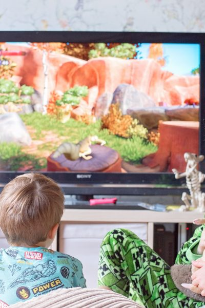 the boys playing scrat's nutty adventure on nintendo switch