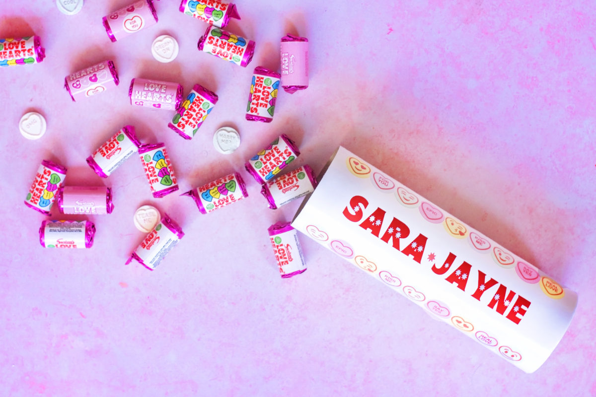 Swizzels Personalised Love Hearts Tube with 25 rolls of mini sweets