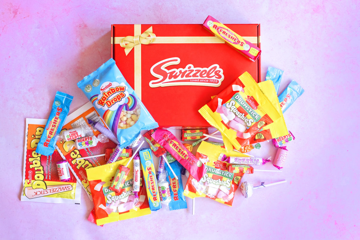 Swizzels Sweet Hamper in red box for Valentine's day. Squashies, refreshers, rainbow drops, drumsticks, parma violets, lollipops and double dip included