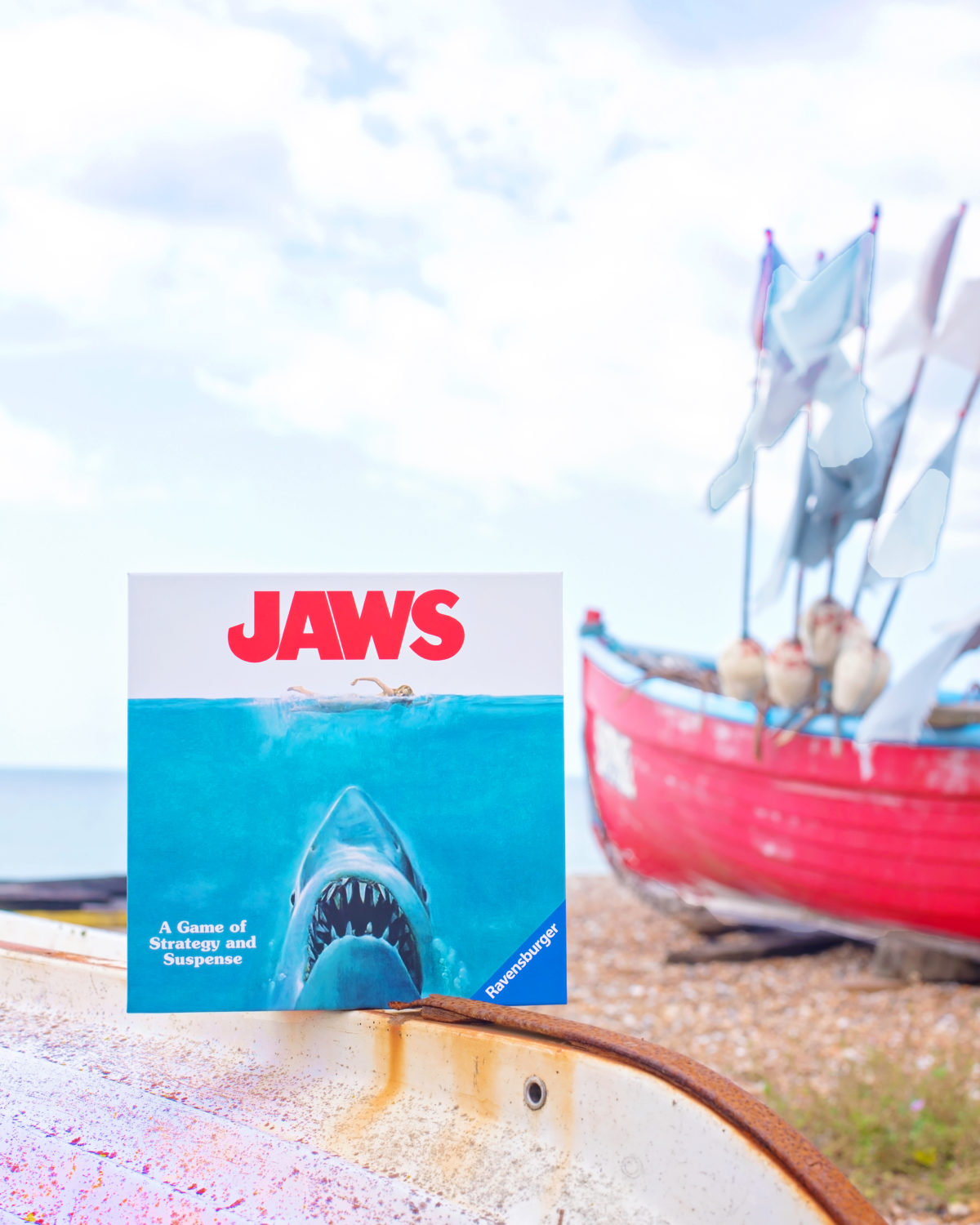 jaws the board game ravensburger on the beach creative board game photogtaphy sara-jayne jones