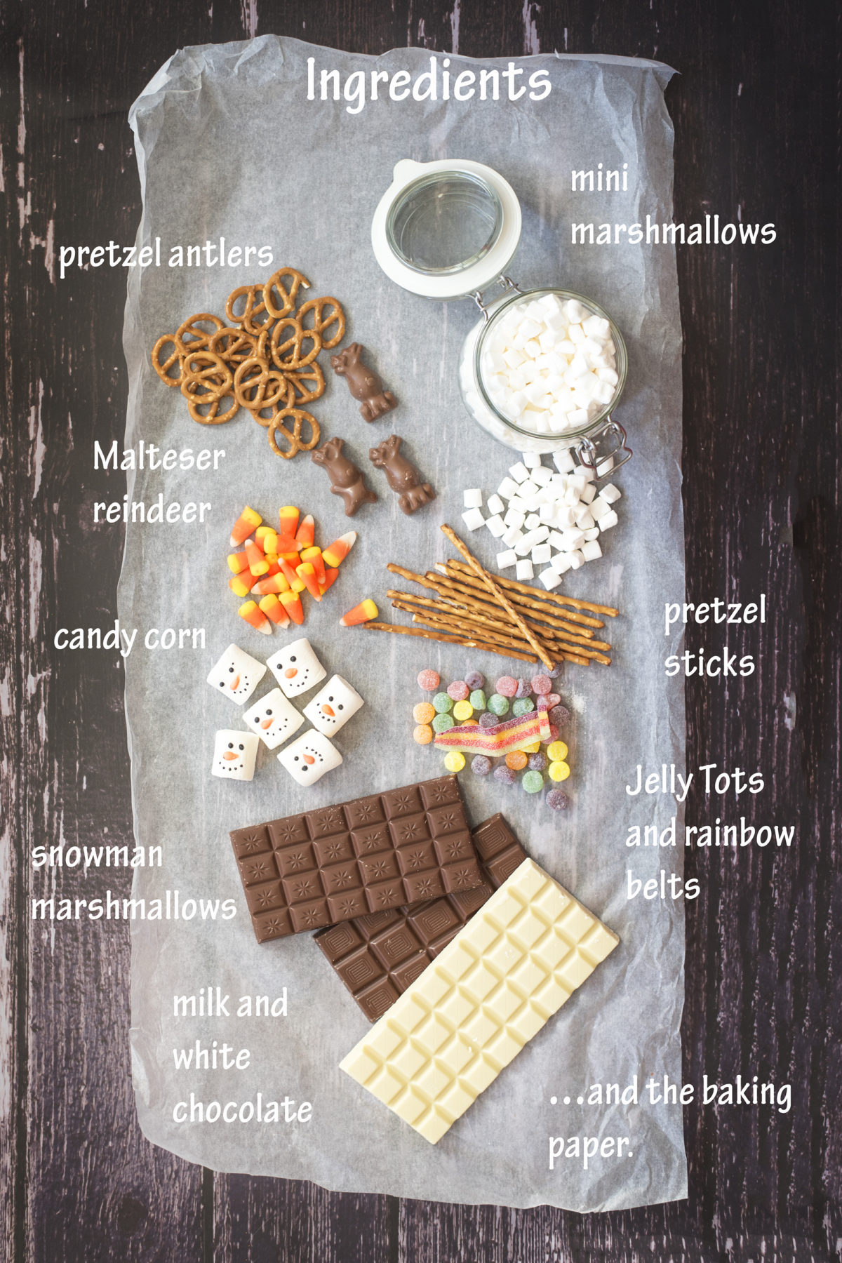Ingredients for chocolate bar DIY craft disney frozen CHOCOLATE PUDDLE