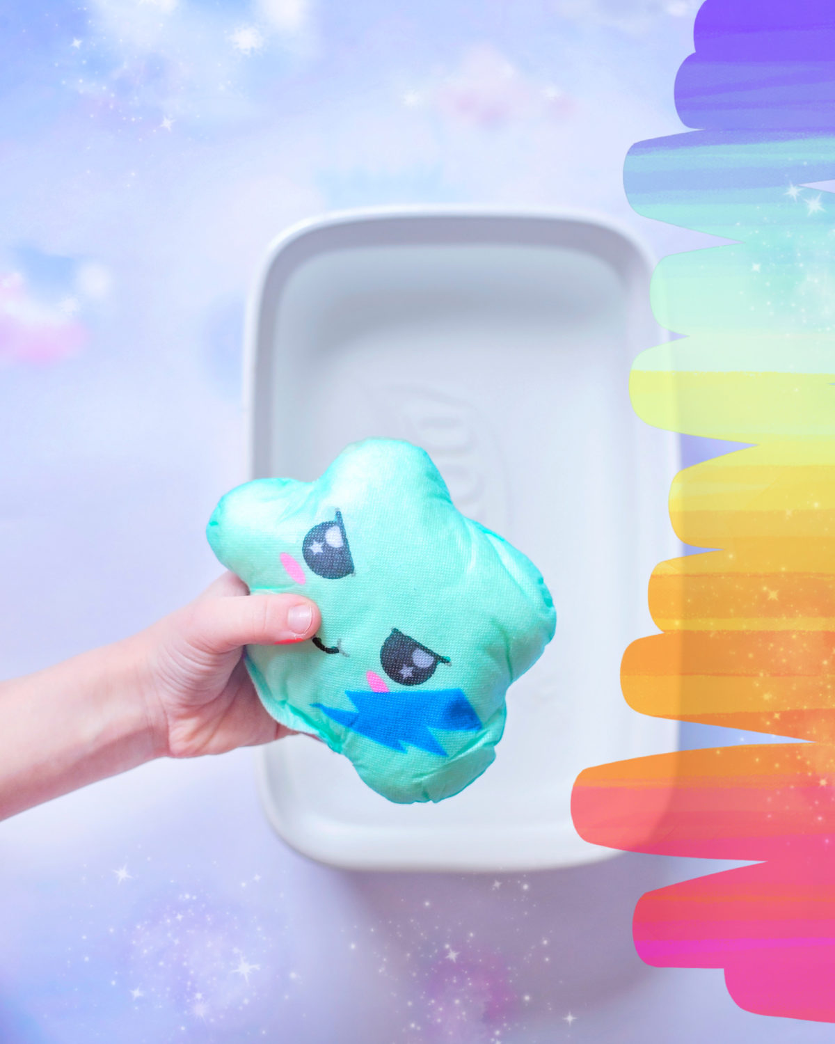 Uni-Verse Surprise Clouds ready to be dissolved in warm water to reveal unicorn and accessories