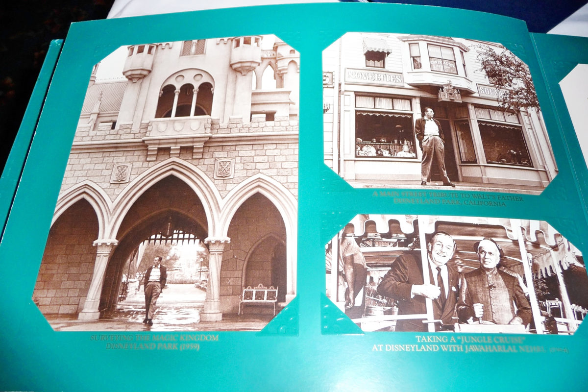 Image shows the inside of the menu at walt's restaurant in disneyland paris. There are various photographs of disney days gone by.