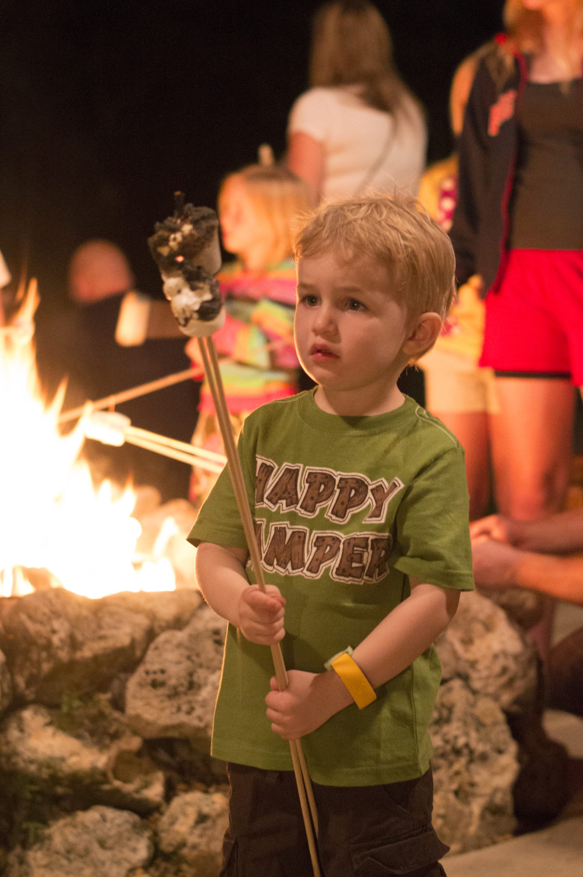 roasting marshmallows at chip 'n' Dale's campfire
