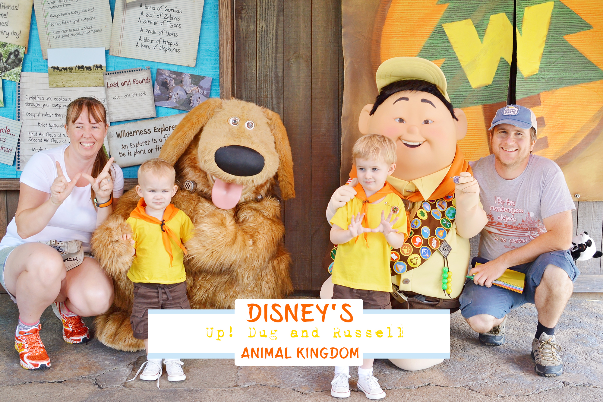 Meet Russell and Dug at the Wilderness Explorers Club House in Disney's Animal Kingdom