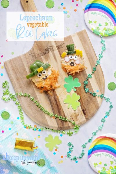raw vegetable rice cake snacks st.patrick leprechaun