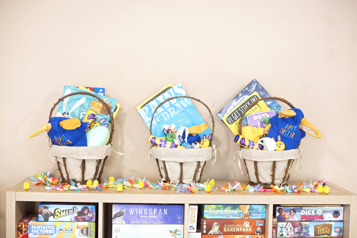 Easter baskets for the boys from pottery barn years ago in the USA