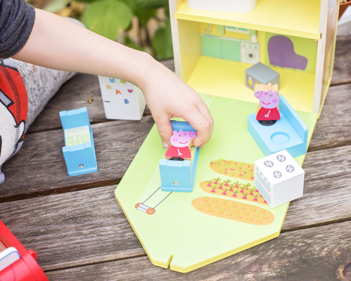 PLaying with peppa's wooden toys