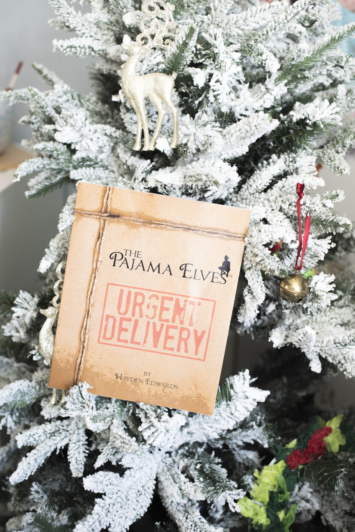 Image shows the Pyjama elves [pajama elves] book by hayden edwards in the branches of a snow covered christmas tree. Image by keep up with the jones family.