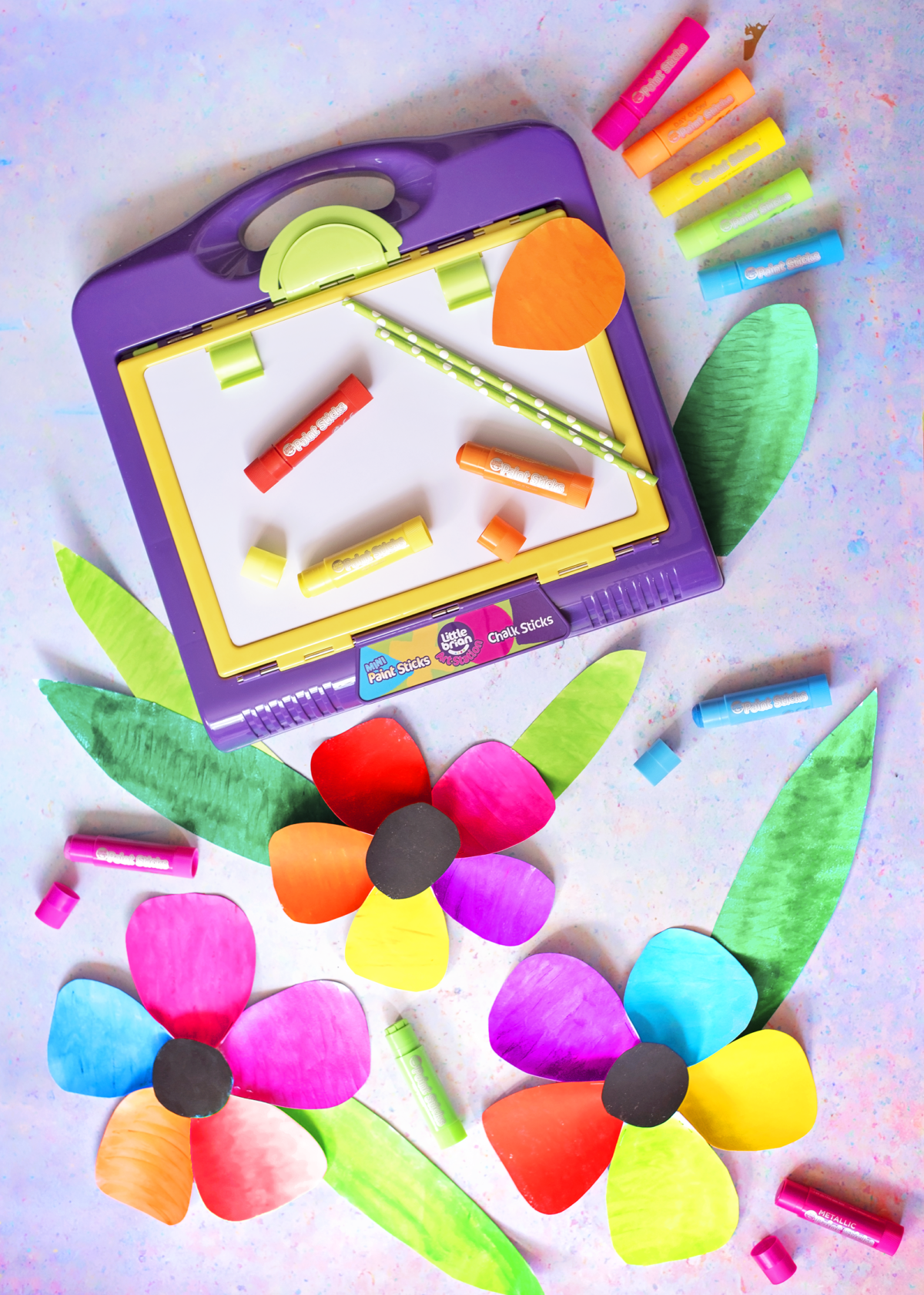 Little Brian Paint Sticks and Art Station, Large Rainbow Paper Flowers. All simple and mess free painting crafts for Spring and Mother's Day.