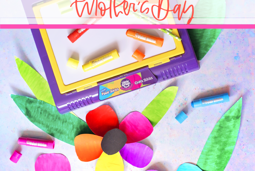 Mess free painting activities for mother's day with paint sticks. Rainbow plates and large rainbow flowers.