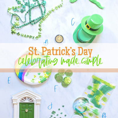 St Patricks Day Made Easy, paper plate, shamrock necklaces, leprechaun door, irish coins, all of the ingredients of a fun celebration