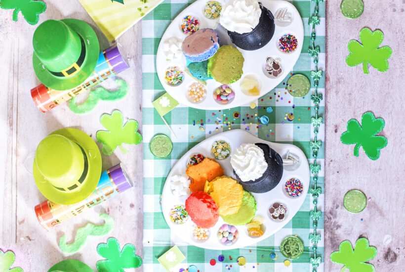 Host a St. Patrick's Day Party - Mini Rainbow Pancake bar for Breakfast with sprinkles and cream. Novelty St. Patrick's favours - rainbow confetti cannons and Mini Irish leprechaun hats. Leprechaun gold and green moustaches on the table