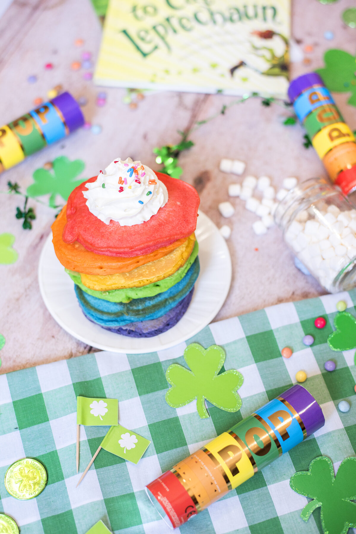 Celebrate St. Patrick's Day with rainbow pancakes and a scavenger hunt to find the leprechaun's gold coins!