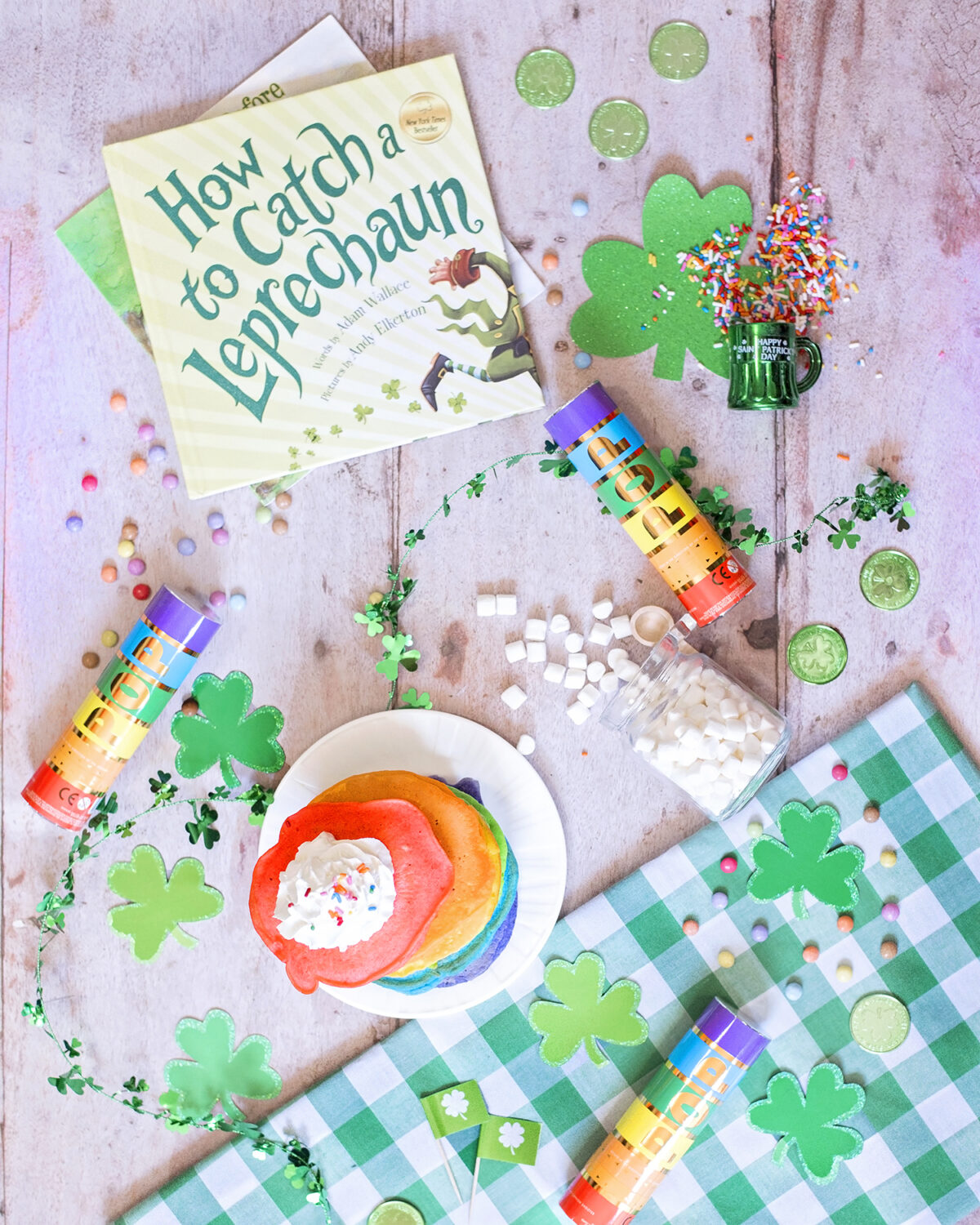 Fun St. Patrick's Breakfast Ideas for kids with rainbow pancakes and shamrock decorations.  Our top ten leprechaun pranks.