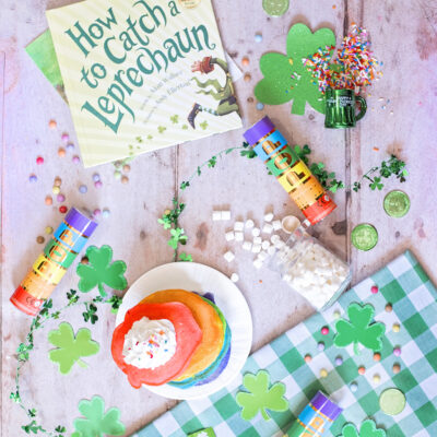 Top ten leprechaun pranks to pull on St. Patrick's day, How to catch a leprechaun book, rainbow pancakes and shamrock decorations.