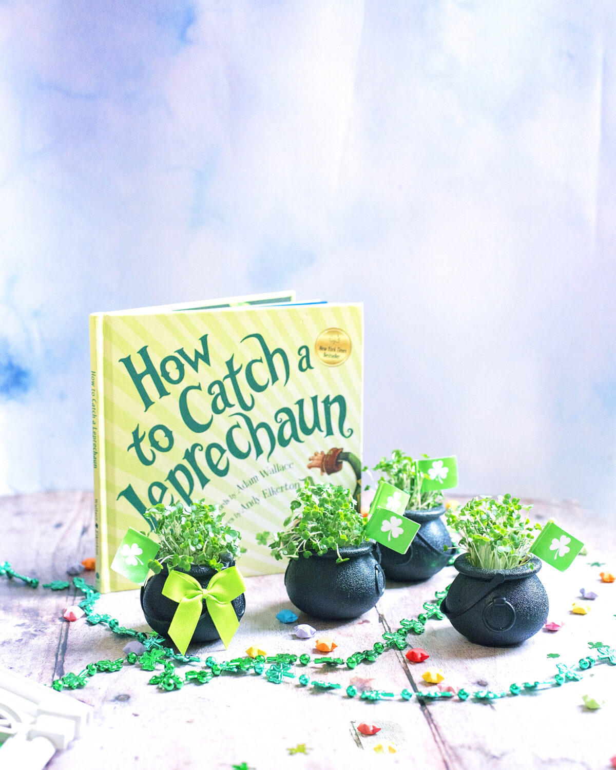 Ways to celebrate St. patrick's day at home. Easy, step by step tutorial for edible cress pots instead of shamrock pots