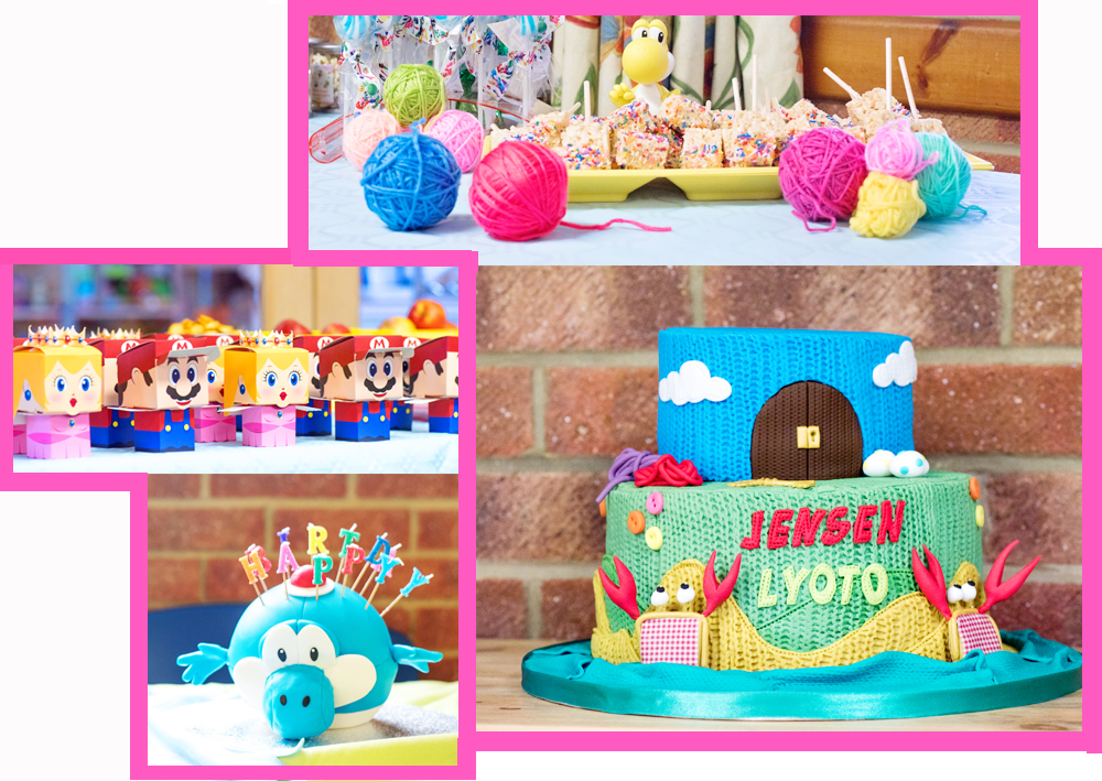 Mario birthday party to throw at home - Collage of Mario Party images showing a two tiered birthday cake featuring Nintendo's Yoshi's Wooly World characters including the purse crabs, a large blue yoshi cake with happy birthday candles in, and yarn balls in rainbow colours as decorations. Mario and Princess Peach snack boxes and Rice Krispie Treats covered in sprinkles with an Amibo on the table next to them.