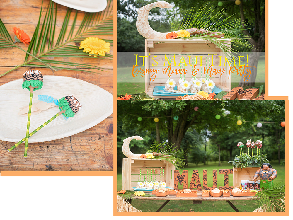 Birthday parties to throw at home - Collage of images from Disney's Moana and Maui Party showing polynesian decoration, Maui's Demi God Fish hook and party treats including kakamora and Maui tattoo cake pops and other Disney merchansise.
