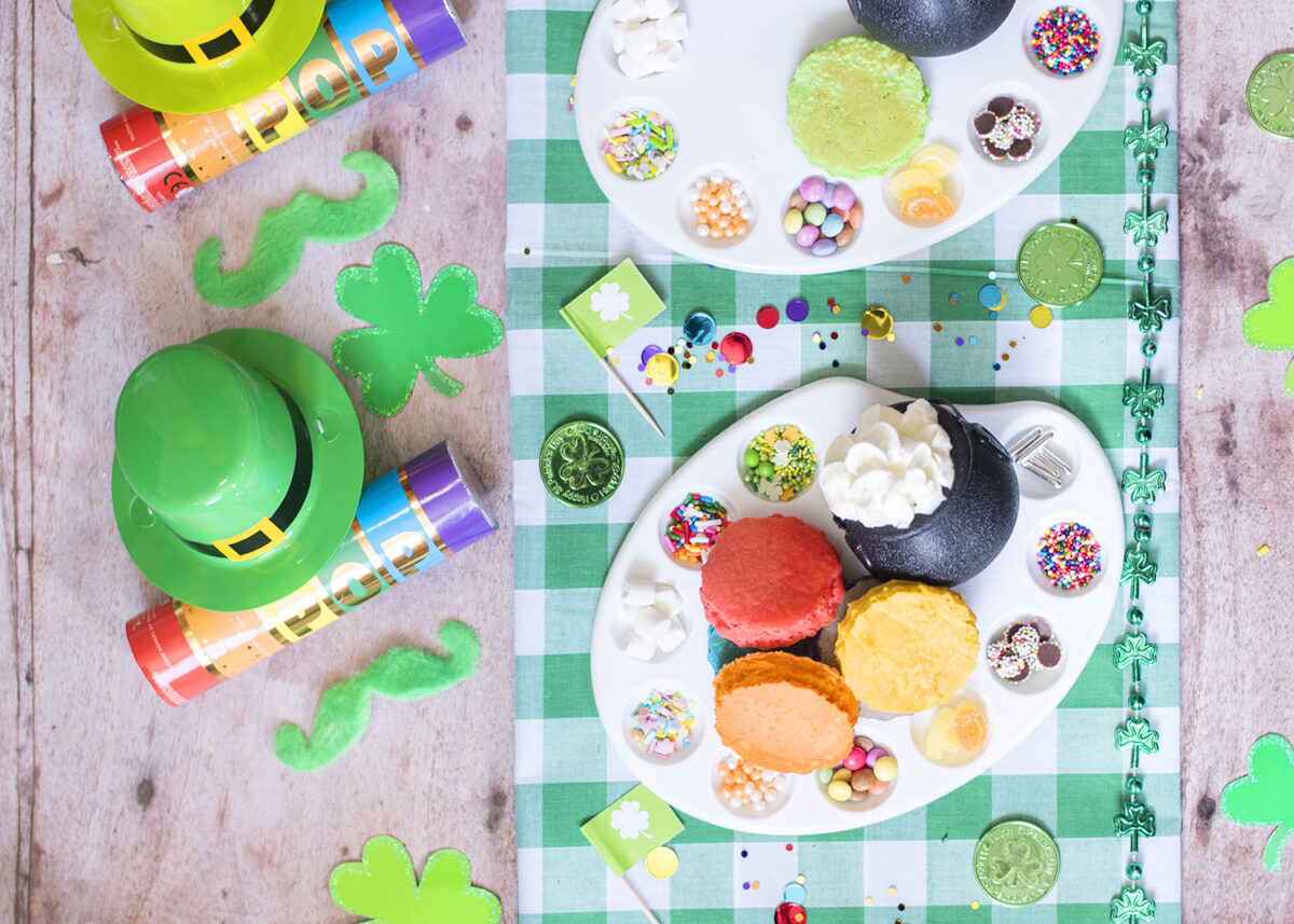 St Patrick's Day Rainbow Pancake Bar - mini pancakes with toppings