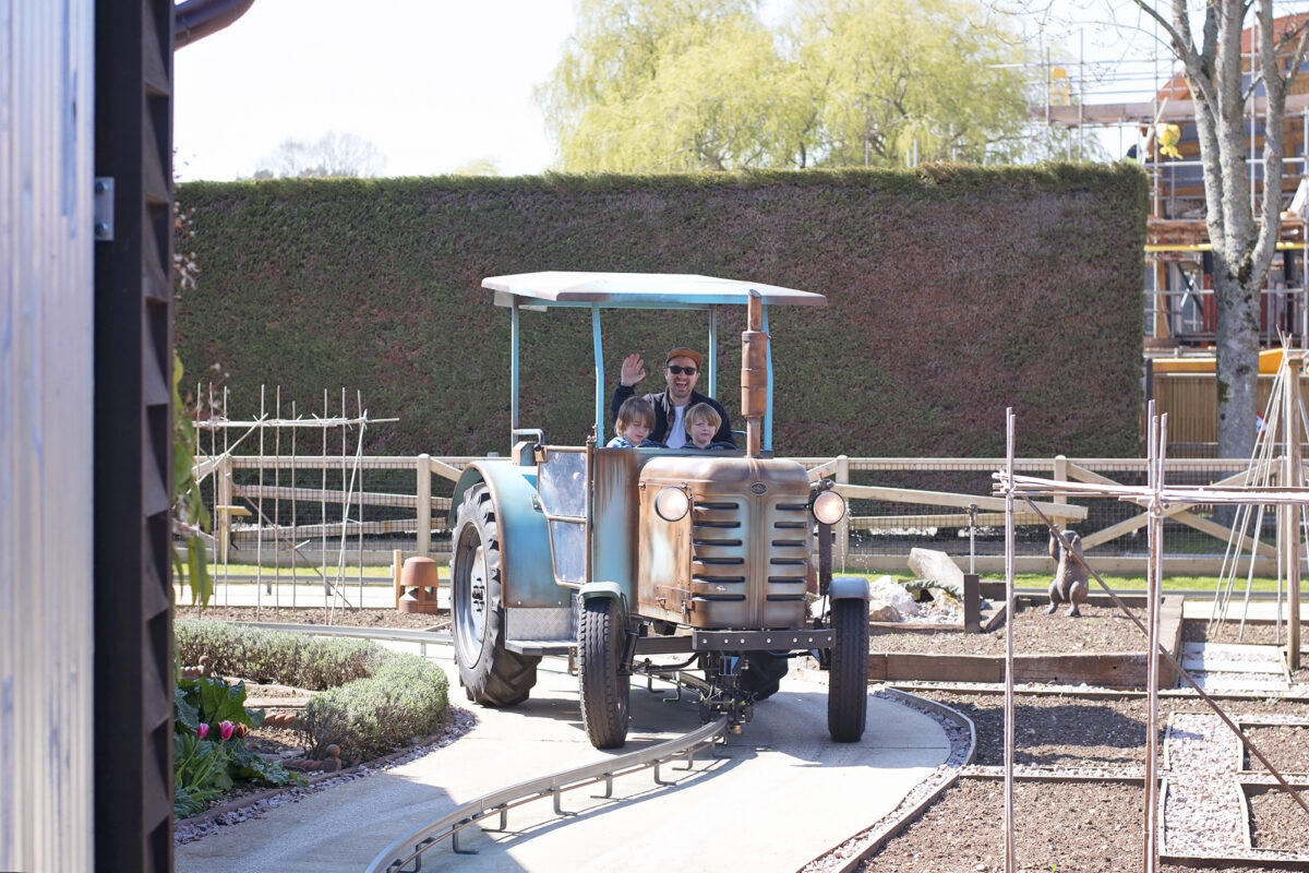 Image shows a tractor from Trekking tractors at Tornado Springs in Paultons Park.