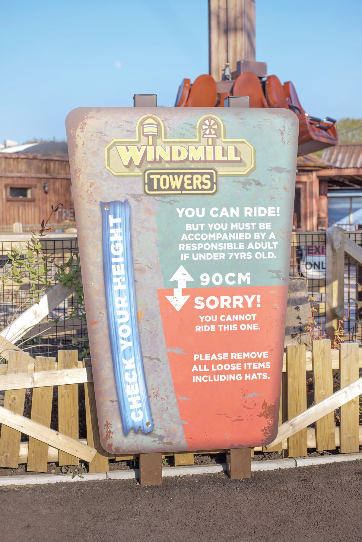 Image shows the ride restrictions for Windmill Falls at Tornado Springs in Paultons Park.