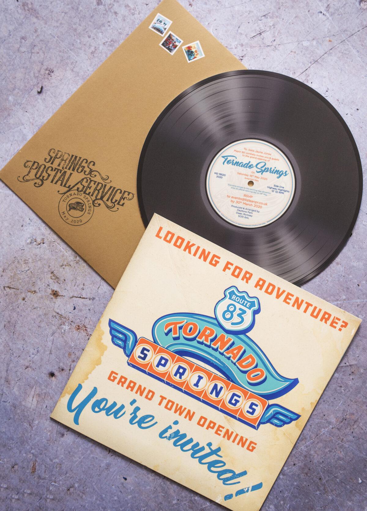tornado springs paultons park press invite image shows a replica vinyl record advertising the new area of the theme park