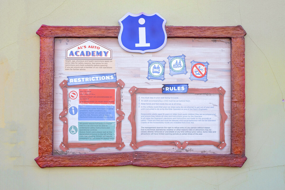 Image shows the ride rules and restrictions for  Al's Auto Academy Driving School at Tornado Springs in Paultons Park.