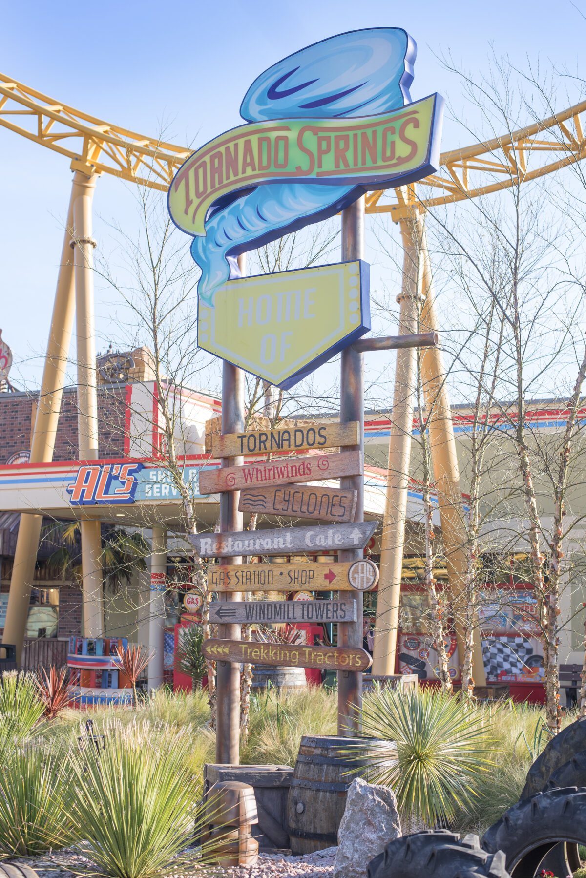Image shows the main signpost in Paultons Park Tornado Springs area of the theme park in Hampshire, england.