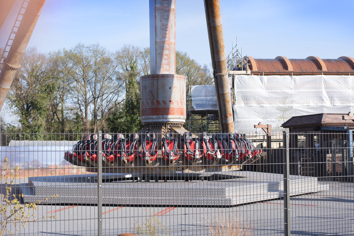 Image shows the Cyclonator, a thrill ride at Tornado Springs in Paultons Park, empty and ready for loading.