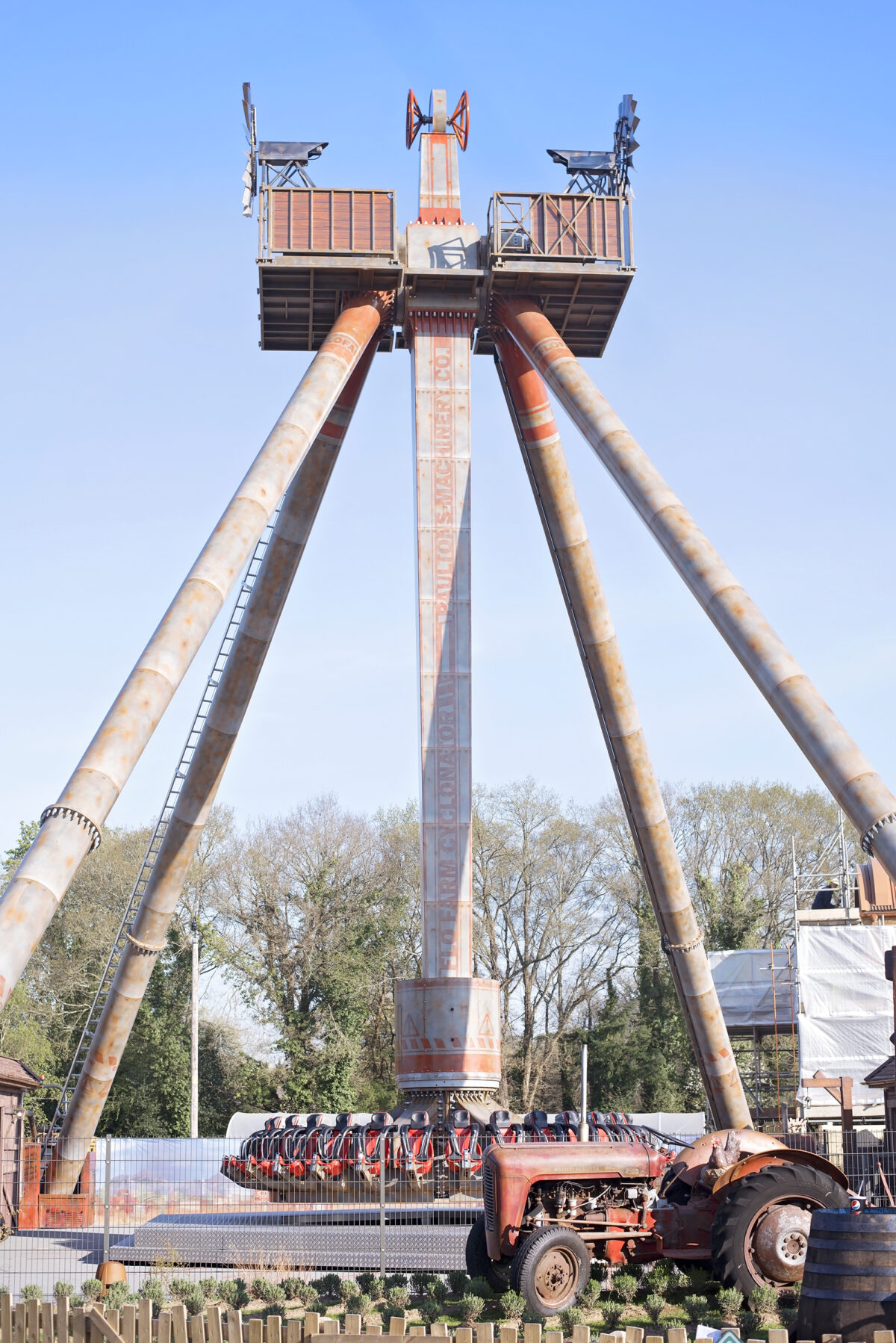 Image shows the cyclonator, empty, at Tornado Springs in Paultons Park.