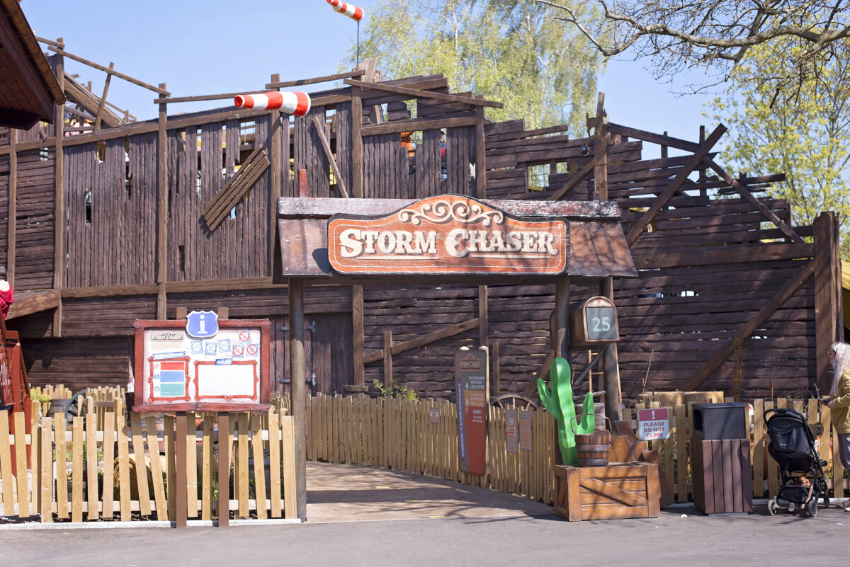 Image shows the entrance to the Storm Chaser at Tornado Springs in Paultons Park.