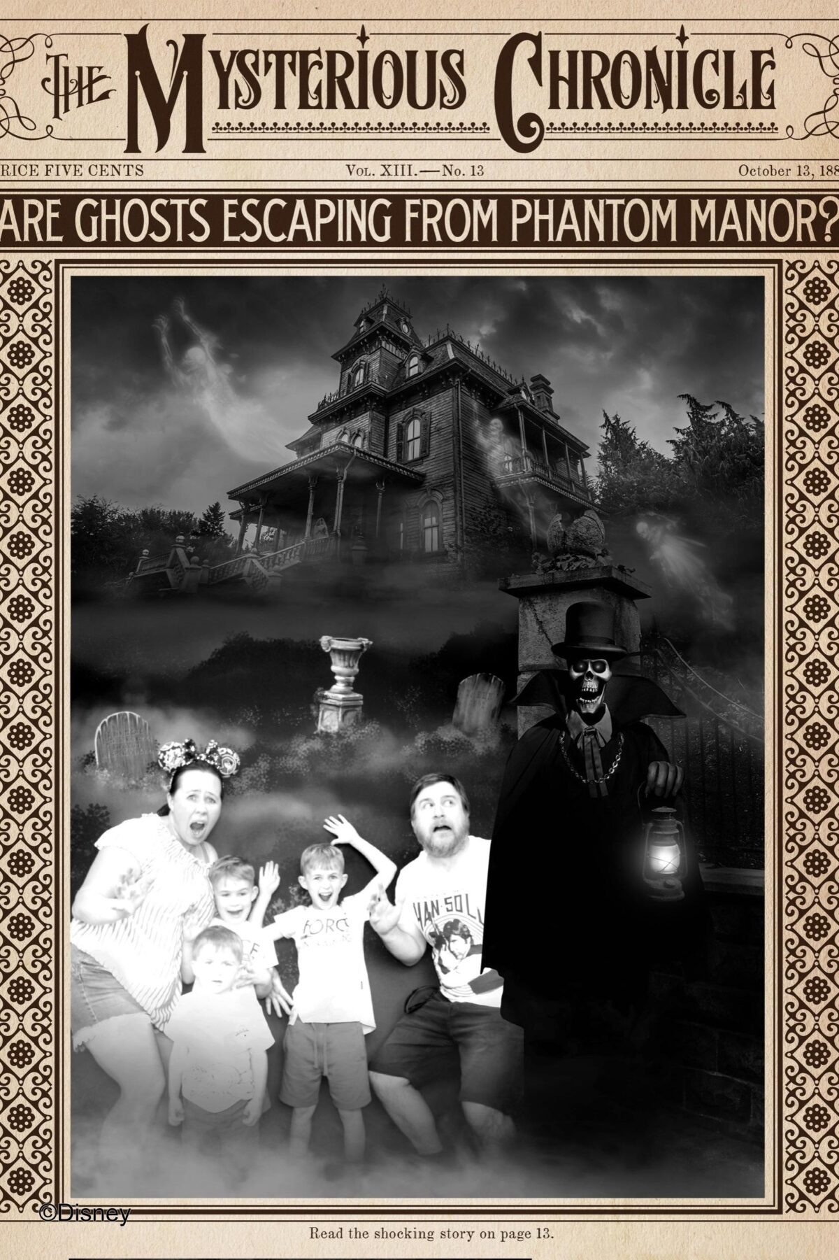 Image shows our personalised copy of the Mysterious Chronicle Newspaper Poster from Disneyland Paris Spirit Photography Booth where you can print a personalised copy of the Mysterious Chronicle by Phantom Manor as a Disney souvenir. Image by Keep Up With The Jones Family.