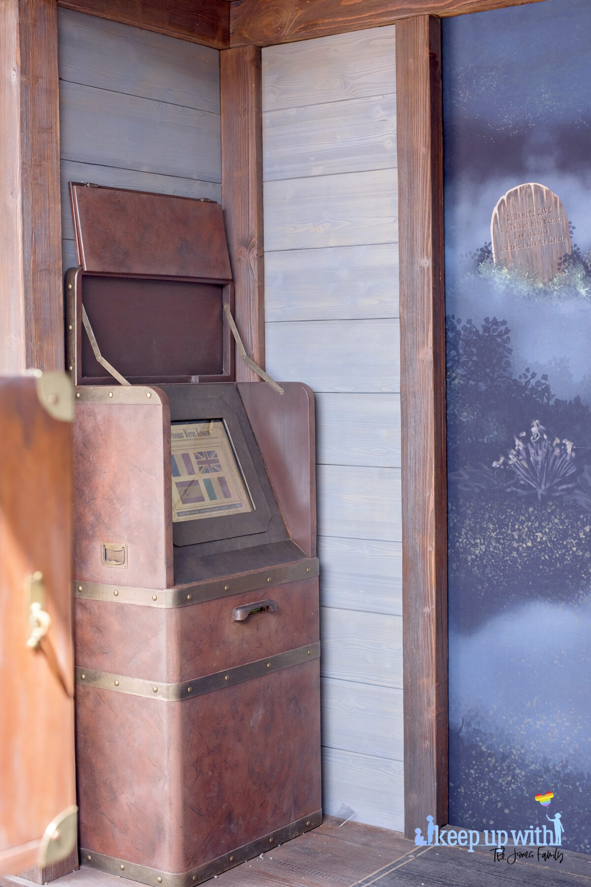 Image shows the control screen in the Disneyland Paris Spirit Photography Booth where you can print a personalised copy of the Mysterious Chronicle by Phantom Manor. Image by Keep Up With The Jones Family.