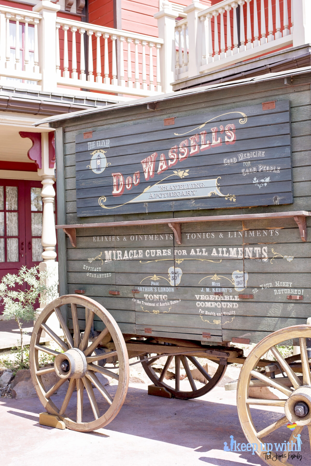 Image showsDoc Wassell's Miracle Cures for All Ailments caravan in Frontierland outside the Disneyland Paris Spirit Photography Booth where you can print a personalised copy of the Mysterious Chronicle by Phantom Manor. Image by Keep Up  With The Jones Family.