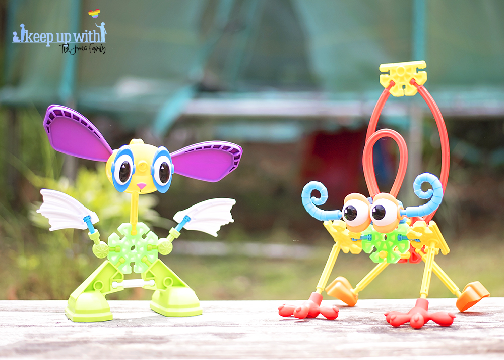 Image shows two imaginary creatures which are made from pieces of the Kid K'nex Budding Builders construction toys box from Basic Fun UK.  By Keep Up With The Jones Family.
