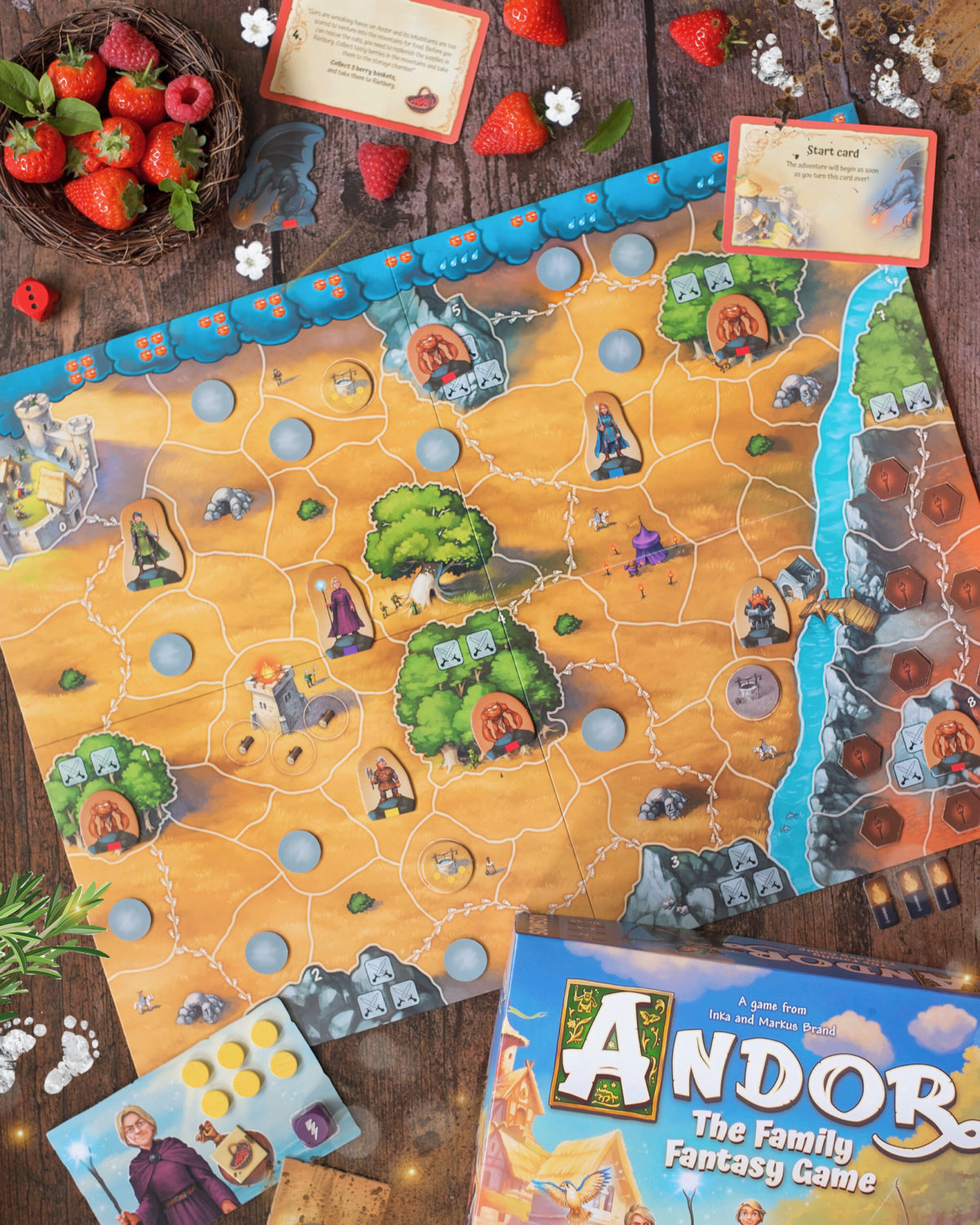 Image shows flat lay of Andor: The Family Fantasy Game board and components from Kosmos Games. Plus some strawberries!