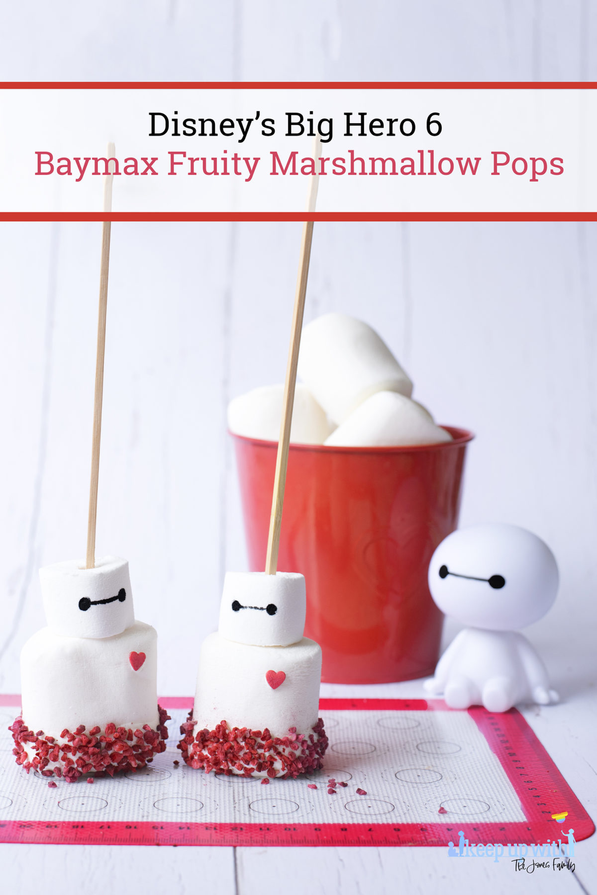 Image shows how to make Disney's Big Hero 6 Baymax Fruity Marshmallow Pops. Image by Keep Up With The Jones Family.