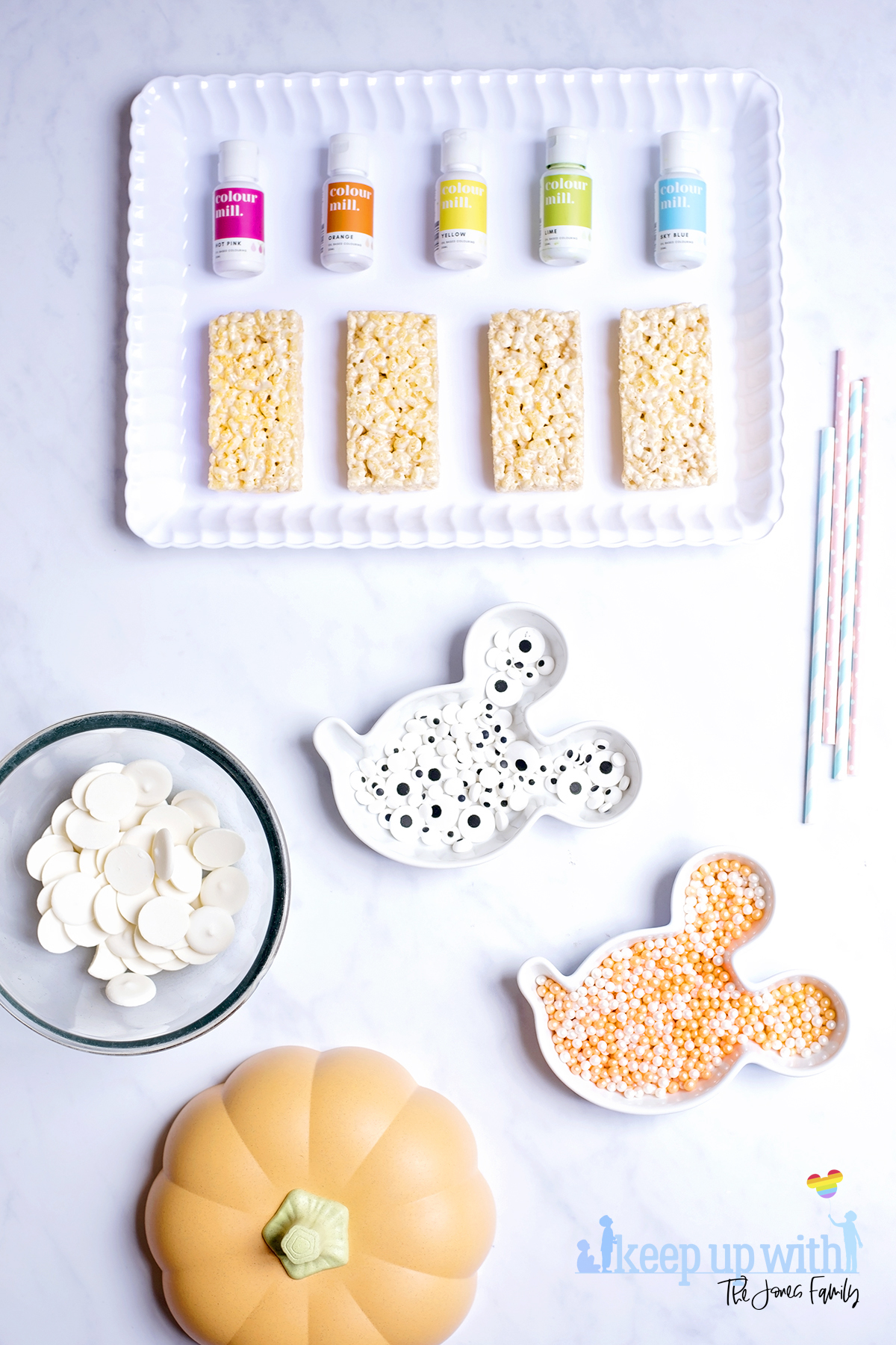 Image shows the ingredients needed to make rice krispie pastel aliens and rice krispie monsters. Image by Sara-Jayne from Keep Up With The Jones Family